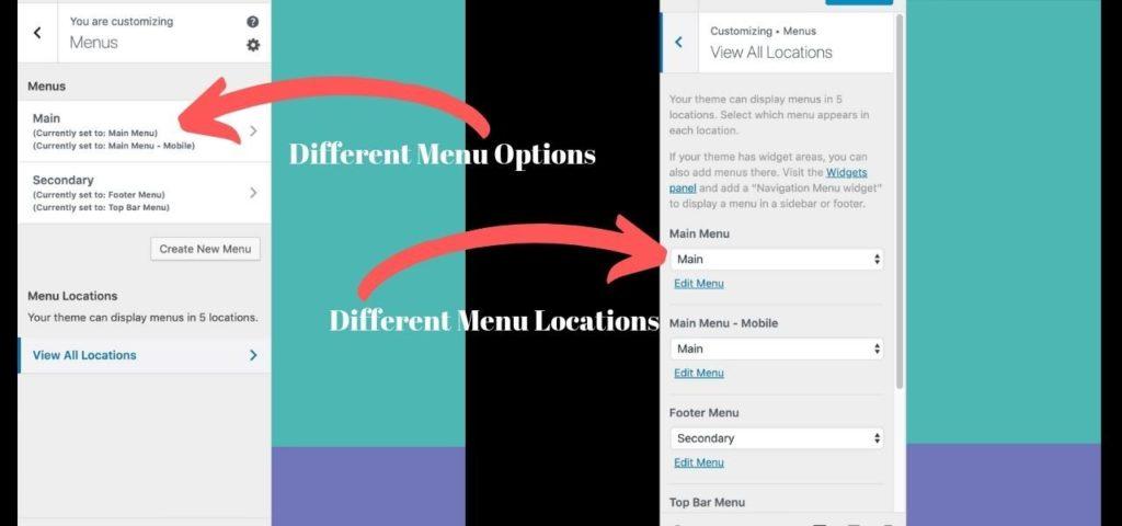 Navigation Menu Different menu options and locaations