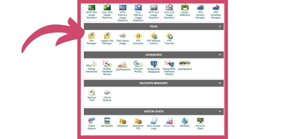 Screenshot of File Manager in cPanel with Arrow WordPress Directory