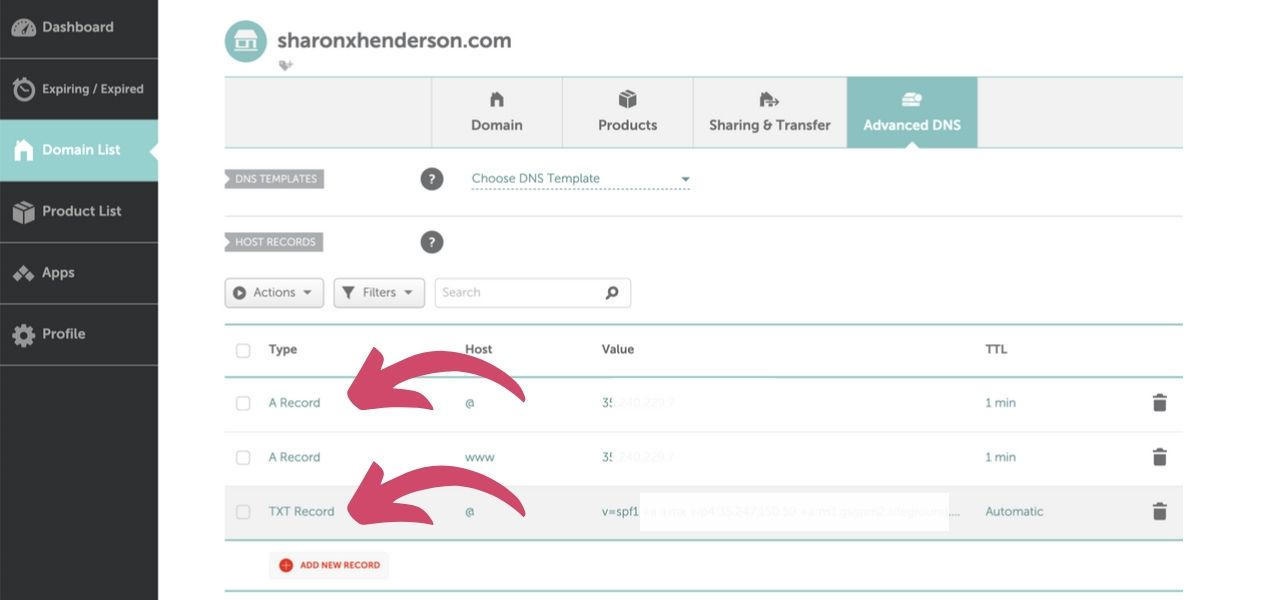 Namecheap Dashboard A Records Displayed in Change Domain Name Tutorial